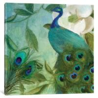 iCanvas Aqua Peacock II by Color Bakery Canvas Print