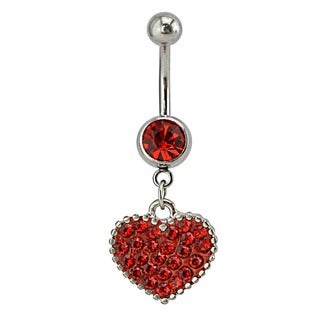 Supreme Jewelry Surgical Steel Austrian Crystal Heart Belly Ring