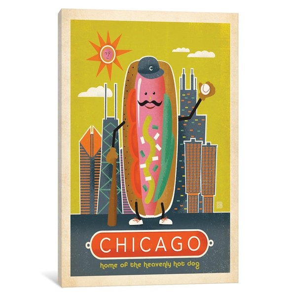 ICanvas Vintage Ad Follies Collection: Chicago Style Hot Dog By Anderson  Design Group Canvas
