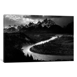 iCanvas The Tetons - Snake River by Ansel Adams Canvas Print