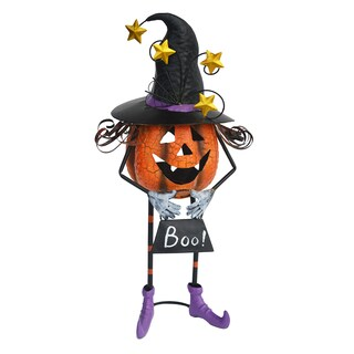 Pumpkin Witch Multicolor Metal Statue with Candle Holder