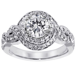 Platinum 1 3/4ct TDW Pave-Set Diamond Engagement Ring (G-H, SI1-SI2)