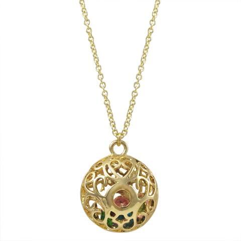 Luxiro Gold Finish Multi-color Stones Filigree Cage Pendant Necklace - Blue