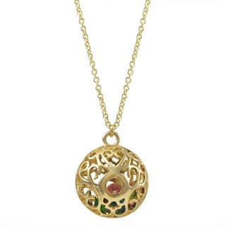 Luxiro Gold Finish Multi-color Stones Filigree Cage Pendant Necklace