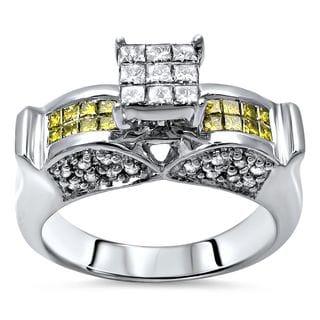 Noori 14k Gold 9/10ct TDW Yellow and White Diamond Engagement Ring (J-K, I1-I2)