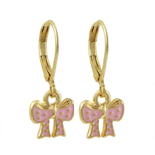 Luxiro Gold Finish Enamel Bow Children's Dangle Earrings