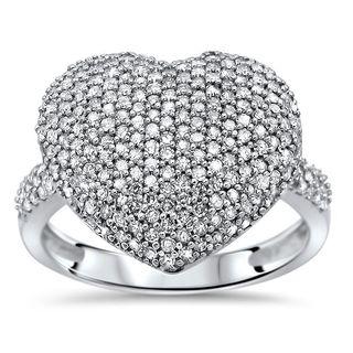 Noori 14k White Gold 1ct TDW Diamond Heart Ring (I-J, I2-I3)