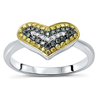 Noori 10k White Gold 1/5ct Yellow Blue Heart Round Diamond Ring