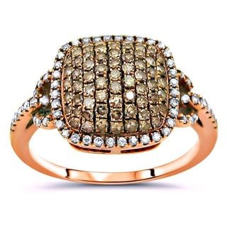 Noori 14k Rose Gold 3/4ct Brown and White Diamond Ring (I-J, I2-I3)