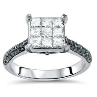 Noori 14k White Gold 1 1/3ct TDW Blue and White Diamond Engagement Ring (G-H, I1-I2)