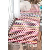 "nuLOOM Handmade Flatweave Striped Rainbow Multi Runner Rug (2'6 x 8') - 2'6"" x 8' runner"