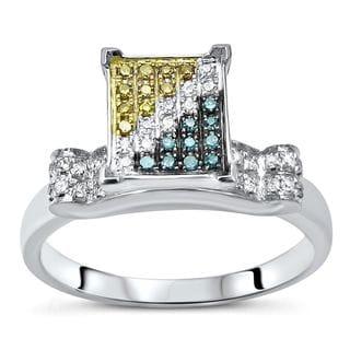 Noori 10k White Gold 1/4ct TDW Blue Yellow White Diamond Engagement Ring (H-I, I1-I2)
