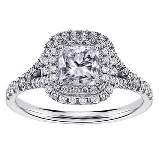 14k/18k White Gold 1 1/3ct TDW Micro Pave-set Princess-cut Designer Halo Engagement Ring