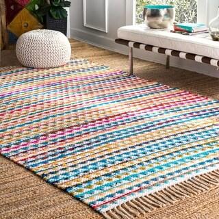 nuLOOM Handmade Flatweave Striped Rainbow Multi Rug (4' x 6')