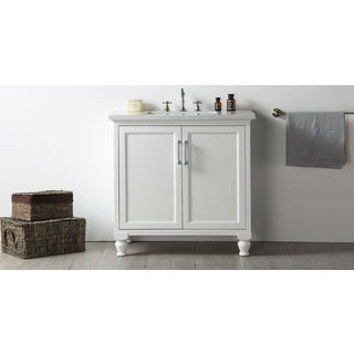 Legion Furniture 36-inch White Single Quartz-top No-faucet Sink Vanity