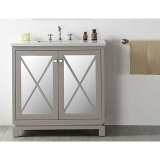 Legion Furniture Grey Wood 36-inch Single-sink Quartz-top Vanity