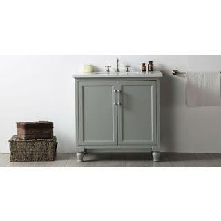 Legion Furniture Cool Grey MDF/Quartz-top 36-inch Single No-faucet Sink Vanity