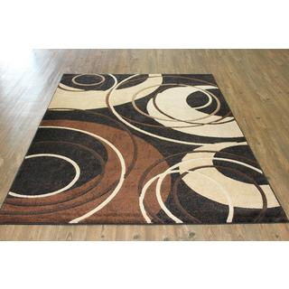 Abstract Beige Black Brown Abstract Circular Design Power Loomed Area Rug (8' x 11')