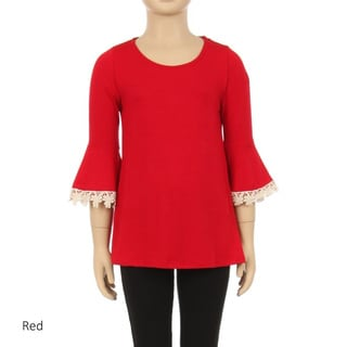 Children's Rayon/Spandex Solid Lace-trim 3/4-sleeve Top