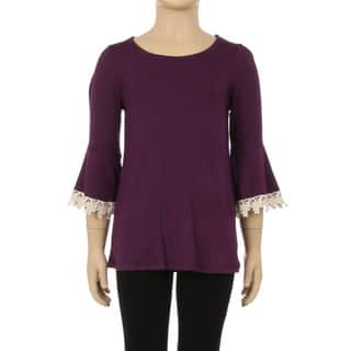 Children's Rayon/Spandex Solid Lace-trim 3/4-sleeve Top https://ak1.ostkcdn.com/images/products/12738373/P19516485.jpg?impolicy=medium