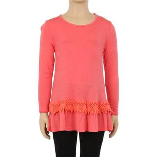 Girls' Coral Rayon/Spandex Lace-trim Waist Top