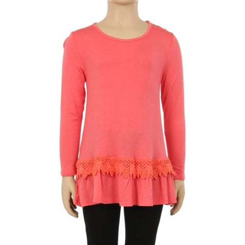 Girls' Coral Rayon/Spandex Lace-trim Waist Top