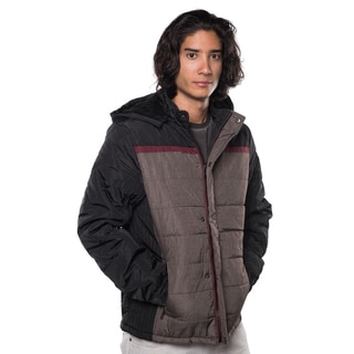 Men's Quilted Polyester Fur-lined Zip-up Jacket with Detachable Hood and Front Zipper Pockets
