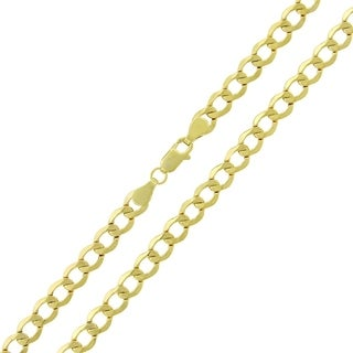 14k Yellow Gold 5.5mm Hollow Cuban Curb Link Chain Necklace