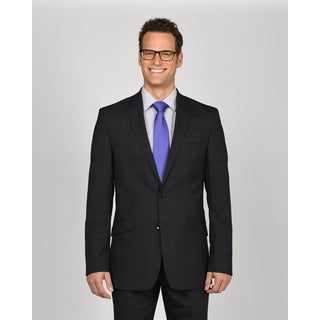 Kenneth Cole New York Charcoal Wool/Polyester/Lycra Plaid Suit Separates Jacket