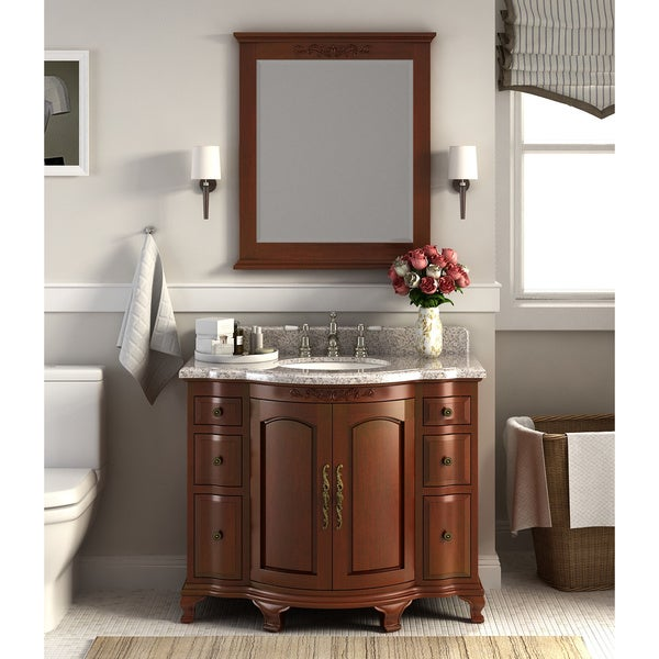 Dover Chestnut Wood 42 Inch Vanity With Backsplash And Granite Top Free Shipping Today