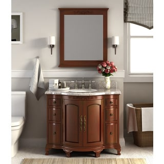 Dover Chestnut Wood 42-inch Vanity with Backsplash and Granite Top