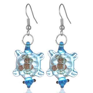 Bleek2sheek Murano-inspired Glass Turtle Dangle Earrings