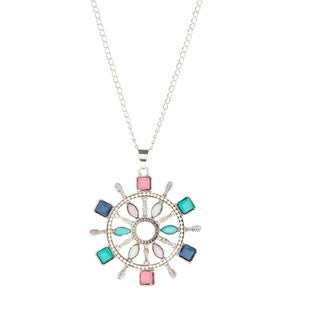 Bleek2Sheek Bohemian Rainbow Mosaic Nautical Steering Wheel Long Necklace