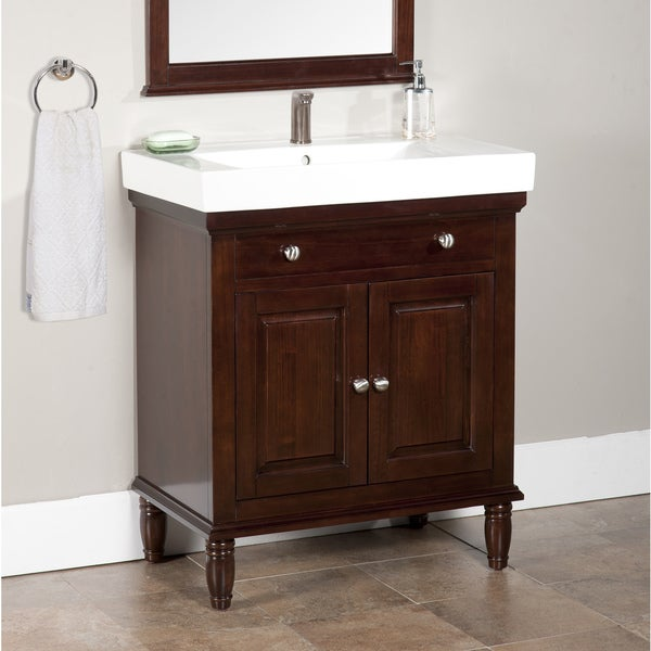 Shop Monte Dark Brown 30-inch Single Bathroom Vanity ...