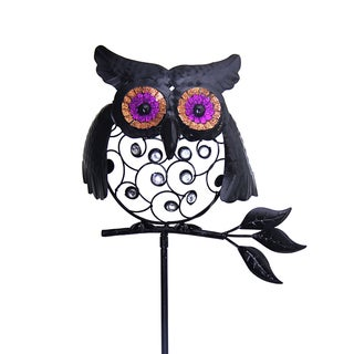 Exhart Black Metal Filigree Owl Garden Stake