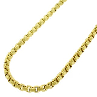 14k Yellow Gold 3 mm Round Box Link Necklace Chains