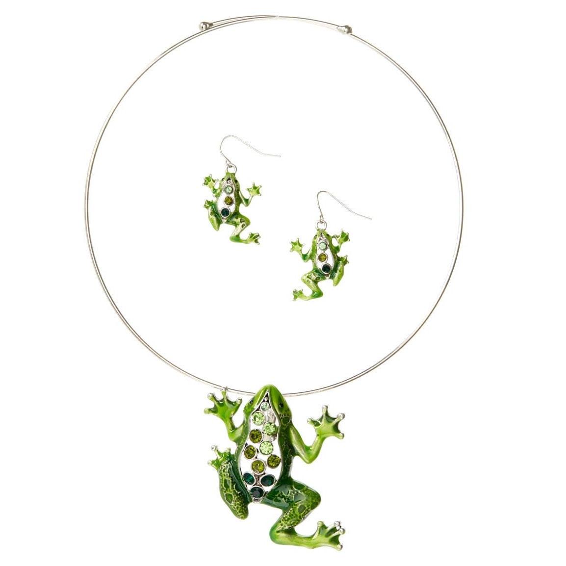 Bleek2Sheek Silvertone Green Mosaic Rhinestone Frog Neckl...