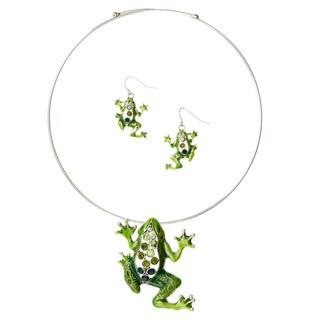 Bleek2Sheek Silvertone Green Mosaic Rhinestone Frog Necklace and Earring Set