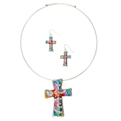 Bleek2Sheek Silvertone Rainbow Mosaic Cross Necklace and Earring Set