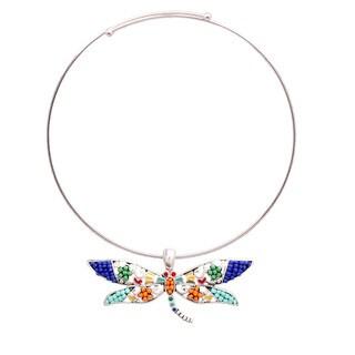 Bleek2Sheek 'Aztec' Silvertone Rainbow Mosaic Dragonfly Necklace and Earring Set