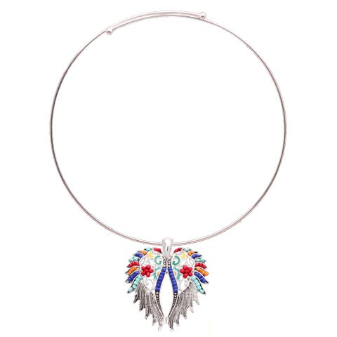 Bleek2Sheek 'Aztec' Silvertone Rainbow Mosaic Feather Wings Necklace and Earring Set