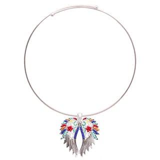 Bleek2Sheek 'Aztec' Silvertone Rainbow Mosaic Feather Wings Necklace and Earring Set