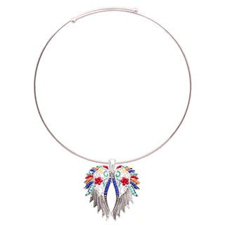 Bleek2Sheek 'Aztec' Silvertone Rainbow Mosaic Feather Wings Necklace and Earring Set|https://ak1.ostkcdn.com/images/products/12738422/P19516517.jpg?impolicy=medium