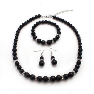 Bleek2sheek Black Faux Glass Pearls and Rhinestone Necklace Earrings and Bracelet Set