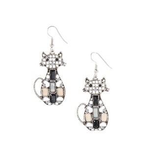 Bleek2sheek Bohemian Kitty Cat Antiqued Silvertone Dangle Earrings