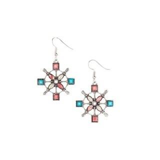 Bleek2sheek Bohemian Nautical Wheel Antiqued Silvertone Dangle Earrings