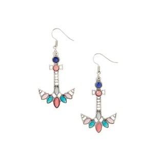 Bleek2sheek Bohemian Nautical Anchor Antiqued Silvertone Dangle Earrings