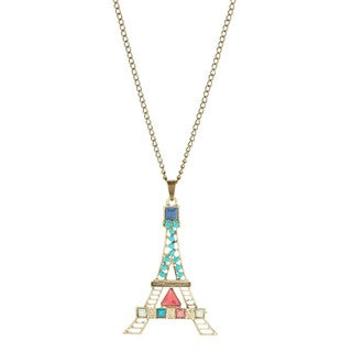 Bleek2Sheek Bohemian Rainbow Mosaic Paris Tower Long Pendant