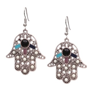 Bleek2sheek Bohemian Hamsa Hand-antiqued Silvertone Dangle Earrings