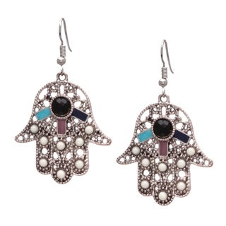 Bleek2sheek Bohemian Hamsa Handmade Silvertone Dangle Earrings (USA)